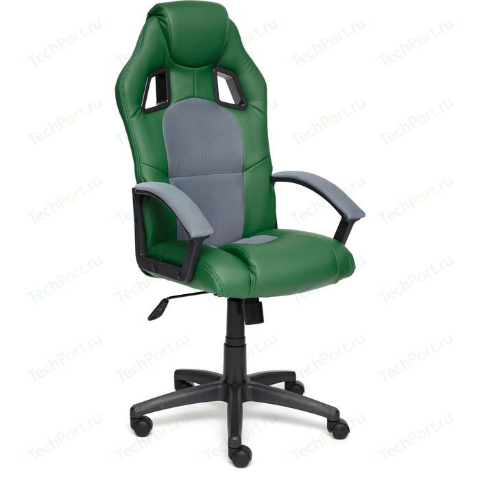 Кресло TetChair DRIVER кож/зам/ткань, зеленый/серый 36-001/12