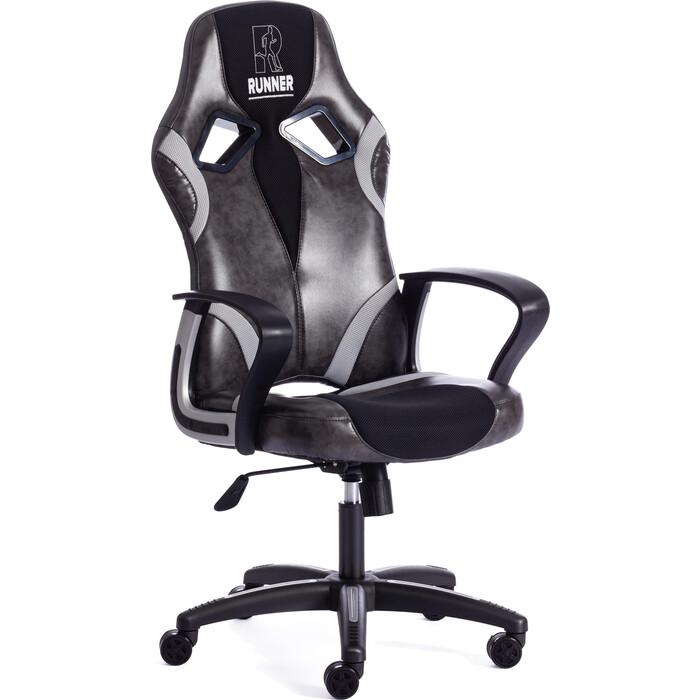 Кресло TetChair RUNNER кож/зам/ткань, серый/черный, 2 TONE/tw11/tw14