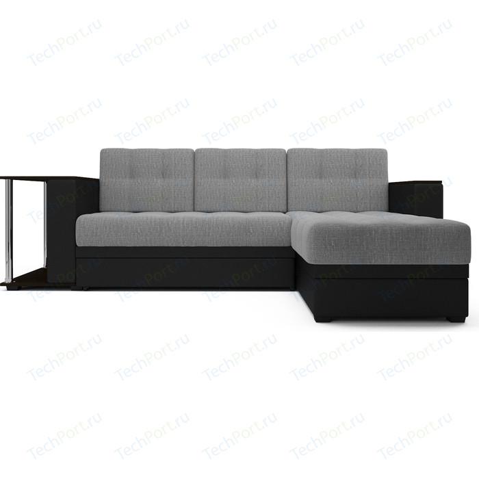 Угловой диван Mebel Ars Атланта рогожка серая ППУ диван диван софа каприз квадраты на сером фоне и серая рогожка ппу каприз