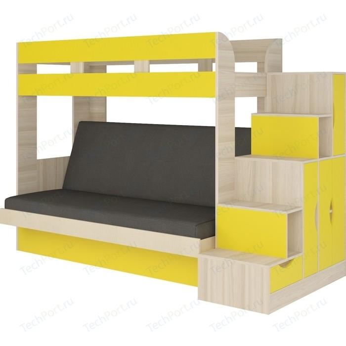 Кровать Атлант Карамель 75-01 Neo grafit, ясень шимо светлый, желтый