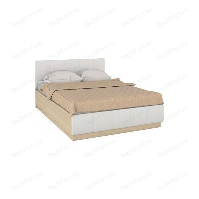 Кровать Моби Линда 303 140 п/м дуб сонома/к/з белый