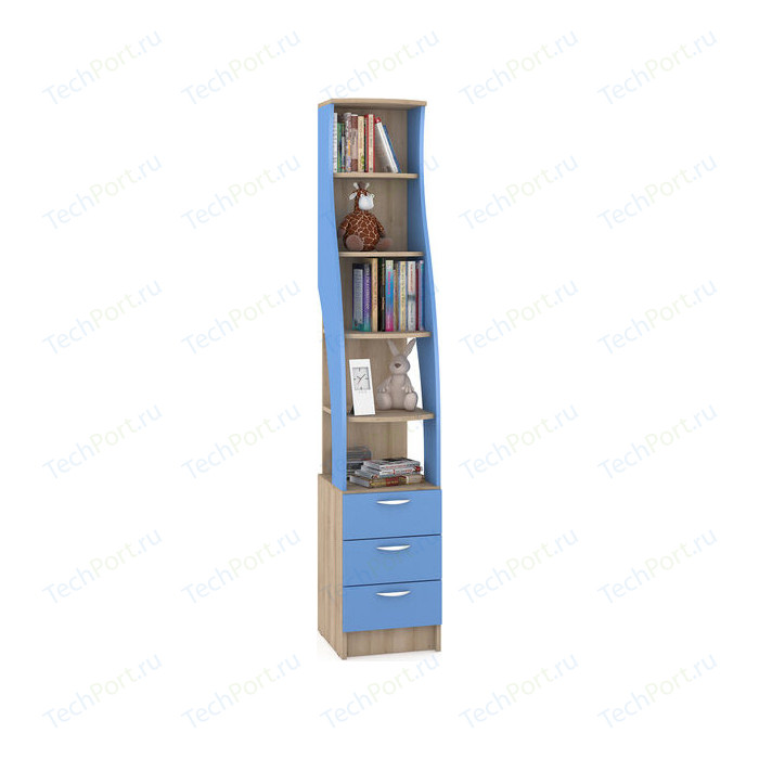 Стеллаж Моби Ника 410 бук песочный/капри синий