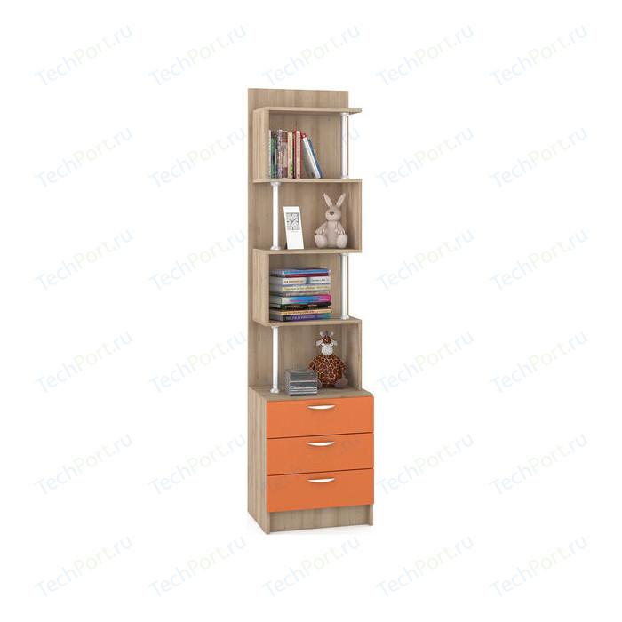 Стеллаж Моби Ника 412 бук песочный/оранжевый