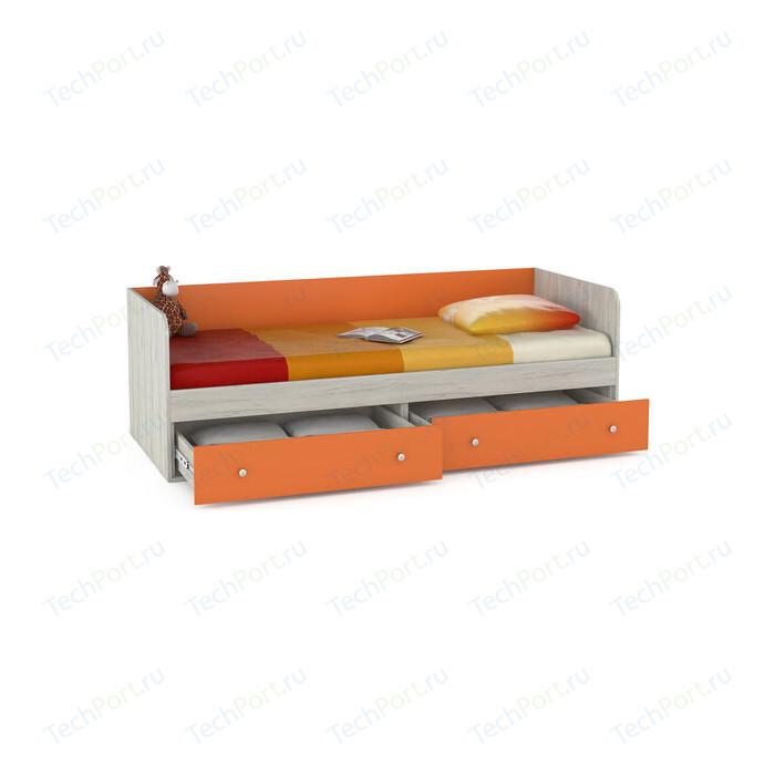 Кровать Моби Тетрис 1 347 дуб белый/оранжевый