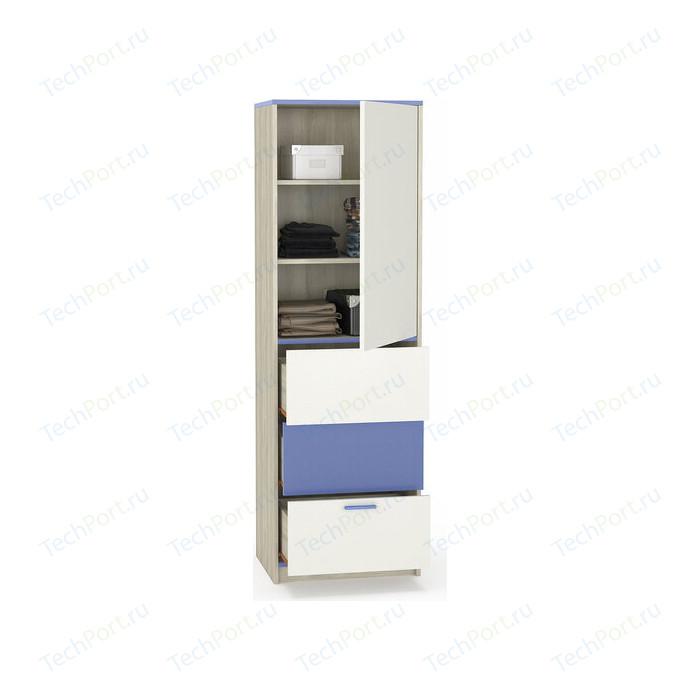 Шкаф Моби Гольф 3 белый матовый/голубой металл, пенал