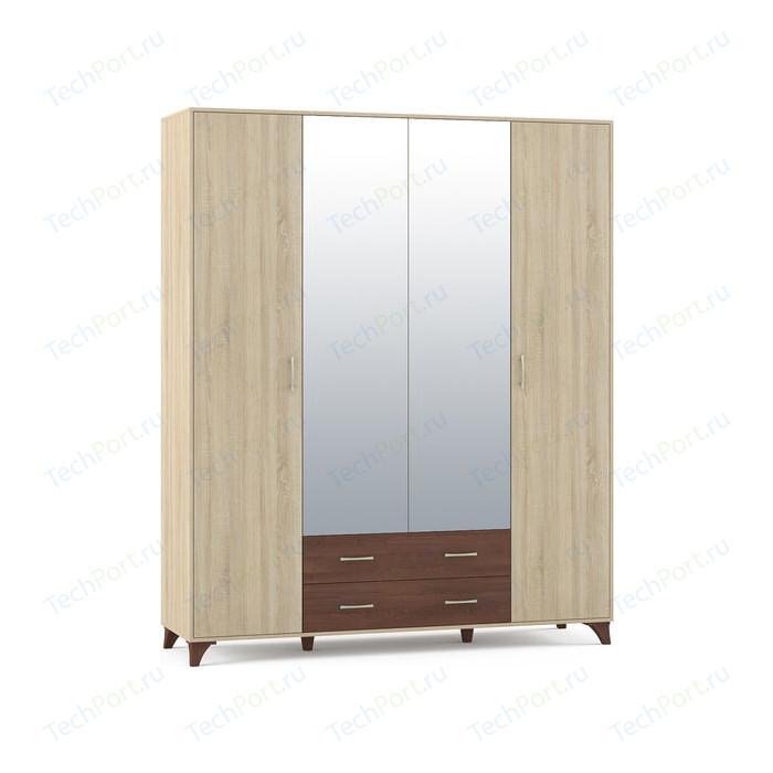 Шкаф Моби Келли дуб сонома/дуб кальяри 4-х дверный стеллажи дуб сонома
