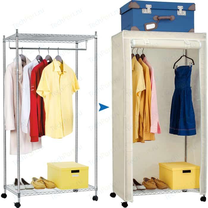 Мобильный шкаф Art moon BUFFALO сверхмощная стойка с двумя полками и штангой для вешалок. в комплекте чехлом. 75х45х150 см