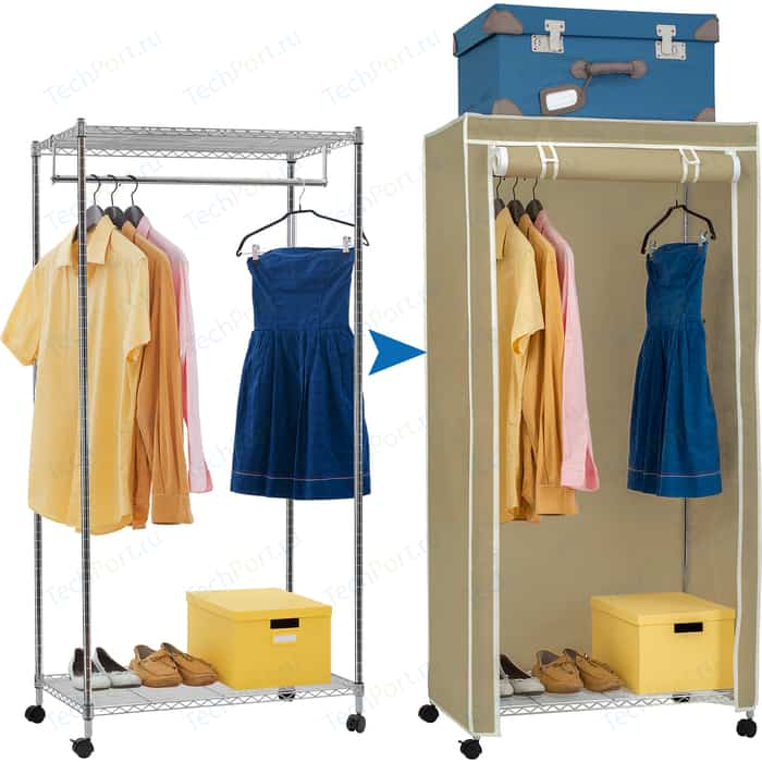 Мобильный шкаф Art moon BUFFALO BEIGE сверхмощная стойка с двумя полками и штангой для вешалок. в комплекте чехлом. 75x150x45 см