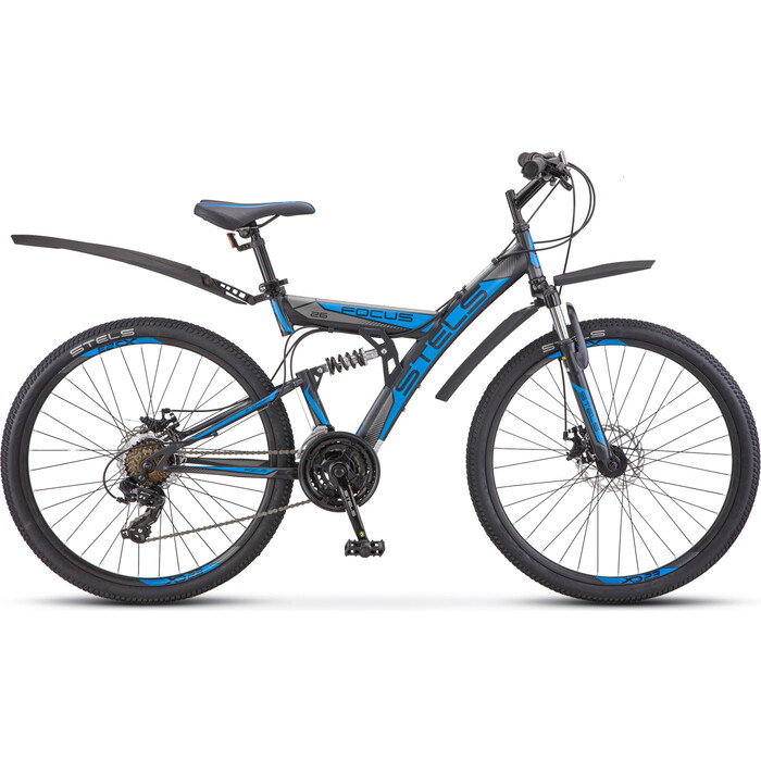 Велосипед Stels Focus MD 26'' 21 sp V010 (2018) 18'' Черный/синий велосипед stels focus v 18 sp 2017