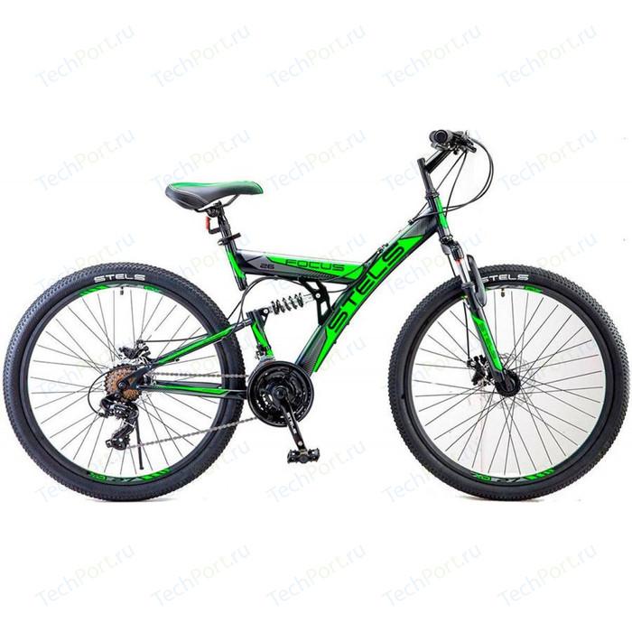 Велосипед Stels Focus MD 26 21 sp V010 (2018) 18 Черный/зеленый велосипед stels focus v 18 sp 2017