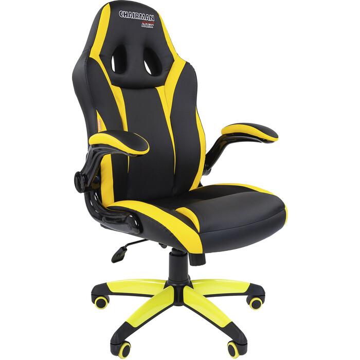Офисноекресло Chairman Game 15 экопремиум черный/желтый