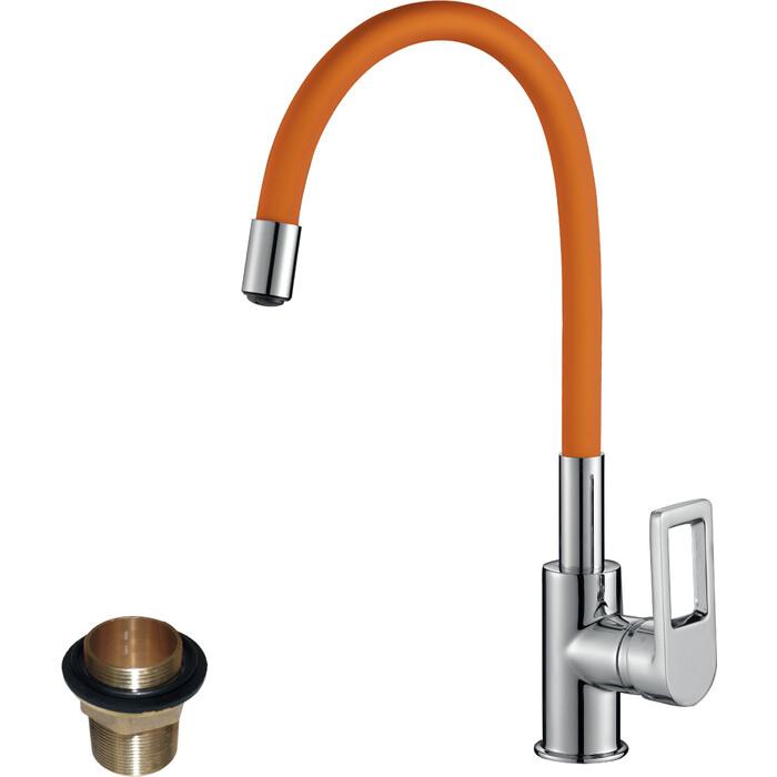 Смеситель для кухни Rossinka Silvermix с гибким изливом хром\оранжевый (Z35-35U-Orange)