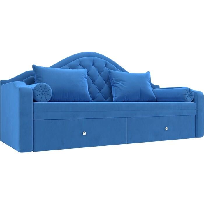 Прямой детский диван АртМебель Сойер велюр MR голубой
