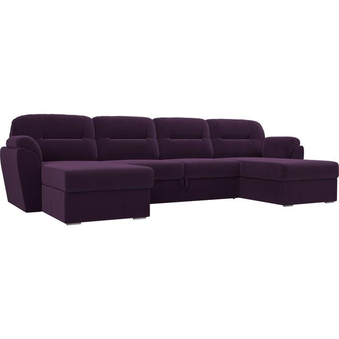 Диван Лига Диванов Бостон велюр фиолетовый П-образный недорого