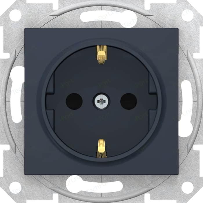 Розетка с защитными шторками и заземлением Schneider Electric СП Sedna графит (SDN3000170)