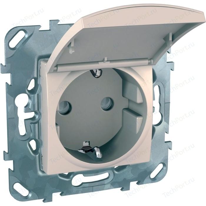 Розетка с защитными шторками и заземлением Schneider Electric СП Unica защитной крышкой бежевый (MGU5.037.25TAZD)