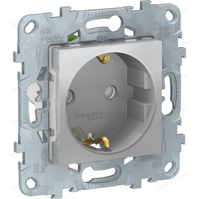 Розетка с защитными шторками и заземлением Schneider Electric UNICA NEW быстрозажимными клеммами алюминий (NU505730)