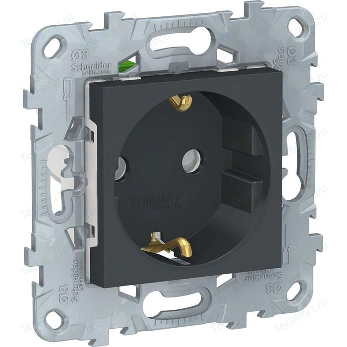 Розетка с защитными шторками и заземлением Schneider Electric UNICA NEW быстрозажимными клеммами антрацит (NU505754)