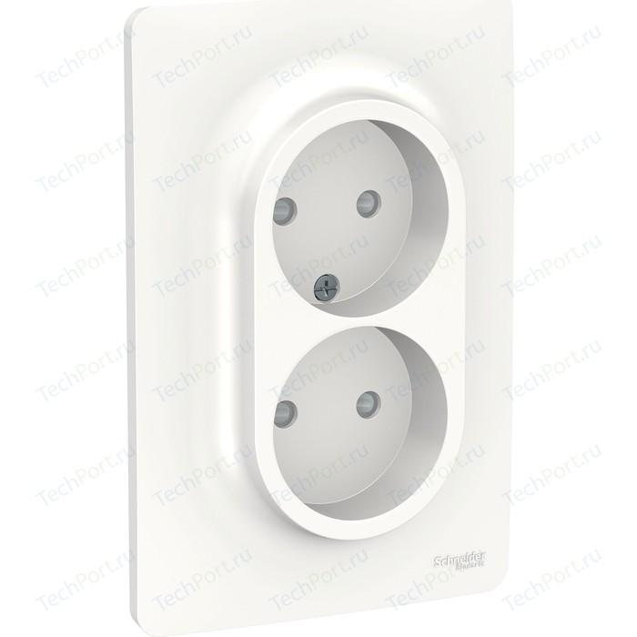 Розетка двойная с защитными шторками Schneider Electric UNICA NEW винтовой зажим белый (NU206318)
