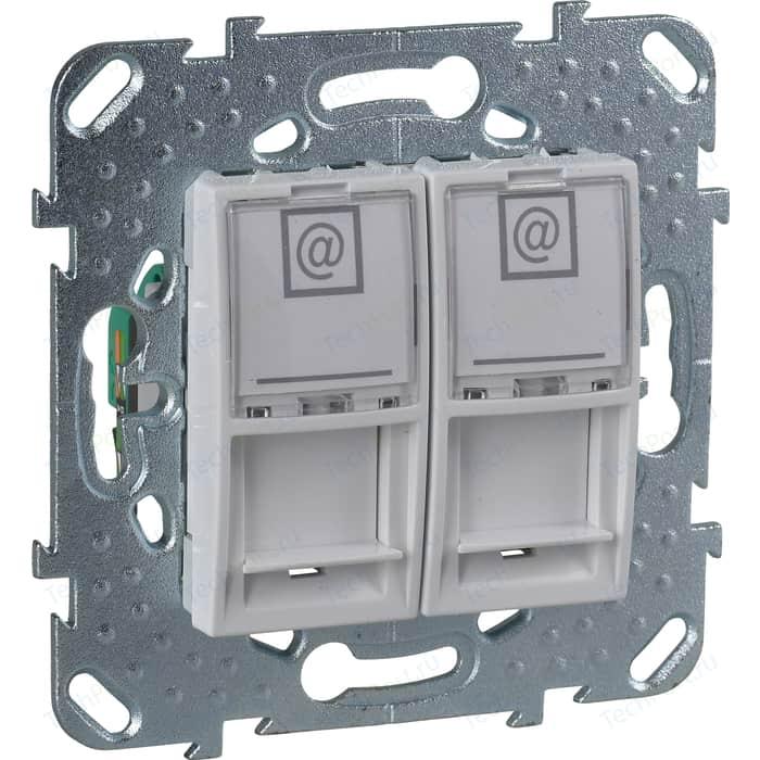 Механизм компьютерной розетки двойной Schneider Electric СП Unica RJ45 белый (MGU5.2020.18ZD) механизм розетки schneider electric s53r471 odace