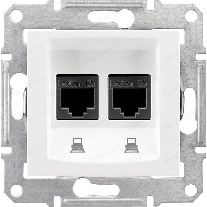 Механизм компьютерной розетки двойной Schneider Electric СП Sedna RJ45 + белый (SDN4400121)
