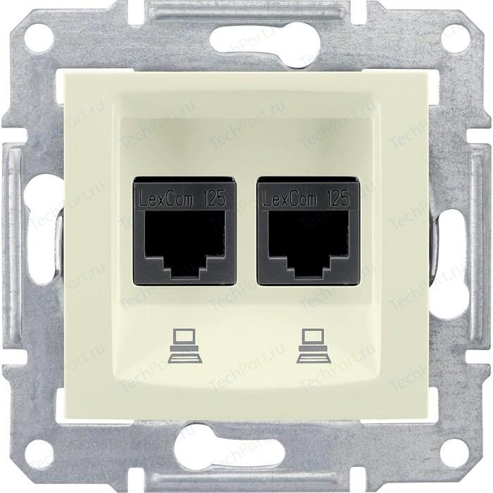 Механизм компьютерной розетки двойной Schneider Electric СП Sedna RJ45 + бежевый (SDN4400147)