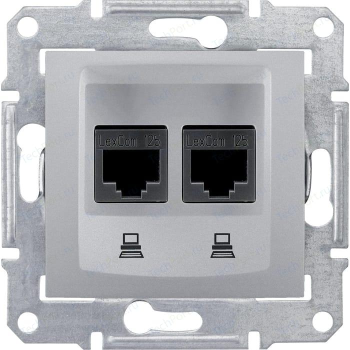 Механизм компьютерной розетки двойной Schneider Electric СП Sedna RJ45 + алюминий (SDN4400160)