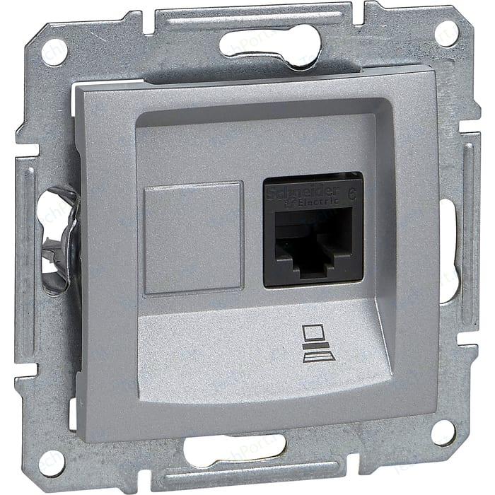 Механизм компьютерной розетки Schneider Electric СП Sedna RJ45 алюминий (SDN4300160) механизм розетки schneider electric s53r471 odace