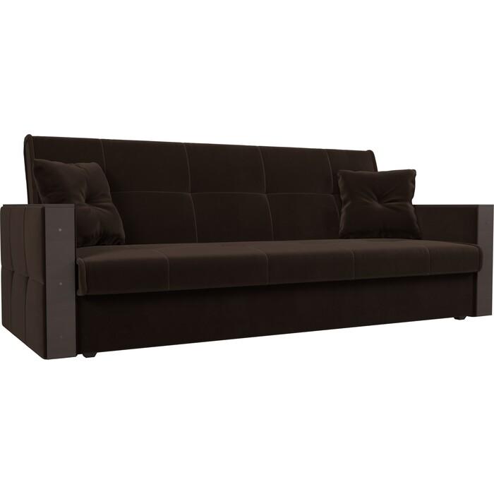 Прямой диван АртМебель Валенсия микровельвет коричневый книжка