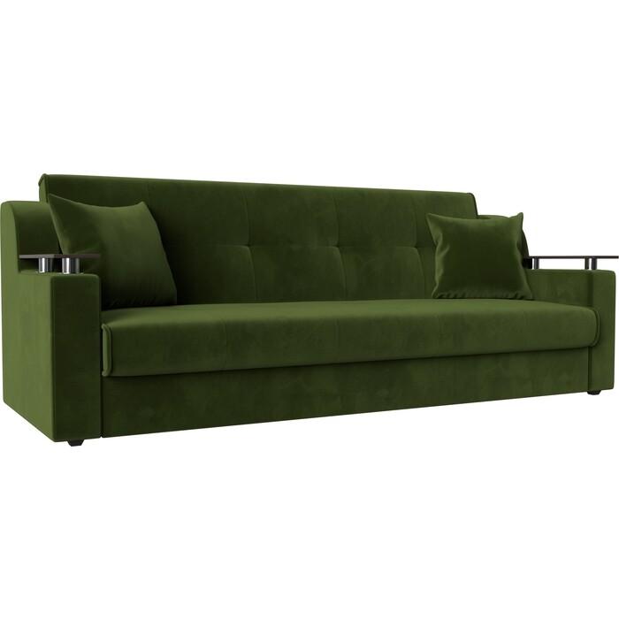 Прямой диван АртМебель Сенатор микровельвет зеленый книжка