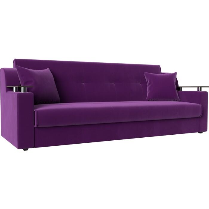 Прямой диван АртМебель Сенатор микровельвет фиолетовый книжка