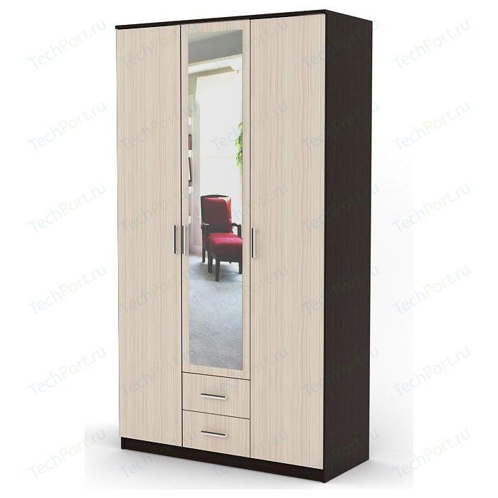 Шкаф распашной Гамма Трио 135х60 венге+вяз шкаф распашной гамма трио 105х60 вяз