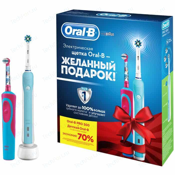 цена на Набор электрических зубных щеток Oral-B Family Pro 500 + Stages Power Frozen