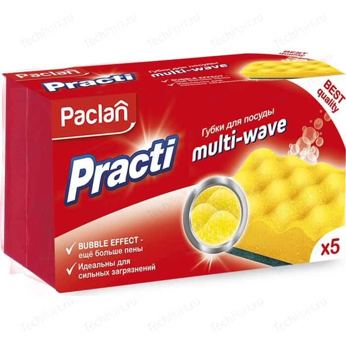 Губка Paclan PractI Multi-Wave для посуды , 5 шт губки для посуды eurohouse волна 5 шт