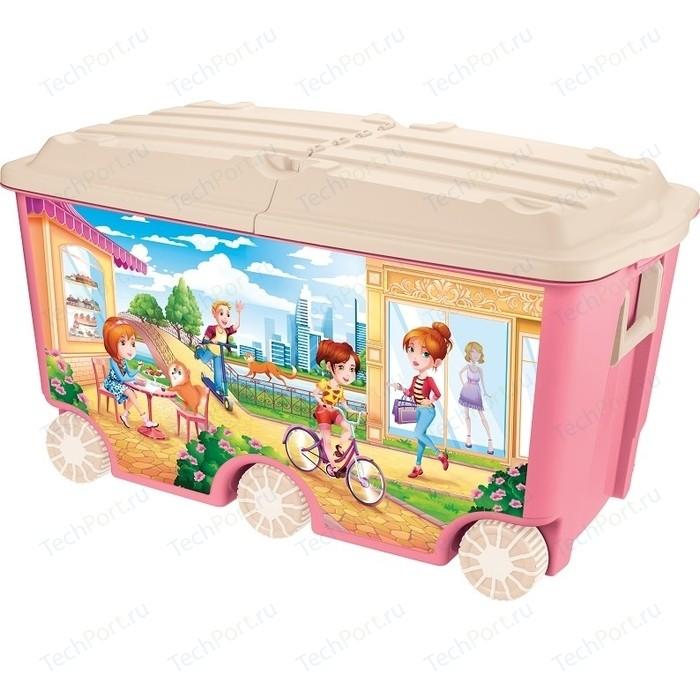 Ящик для игрушек Бытпласт на колесах с декором, 66,5 л, размер 685х395х385 мм, розовый ящик для игрушек бытпласт на колесах с аппликацией me to you 580х390х335 мм розовый 431304105