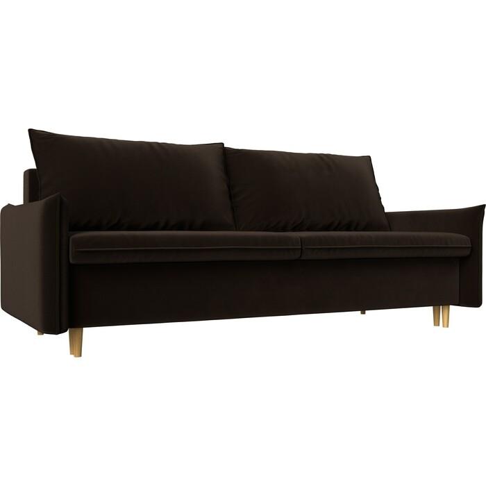 Прямой диван Лига Диванов Хьюстон микровельвет коричневый