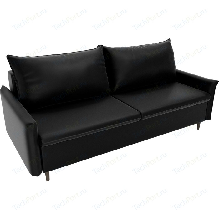 Прямой диван Лига Диванов Хьюстон экокожа черный