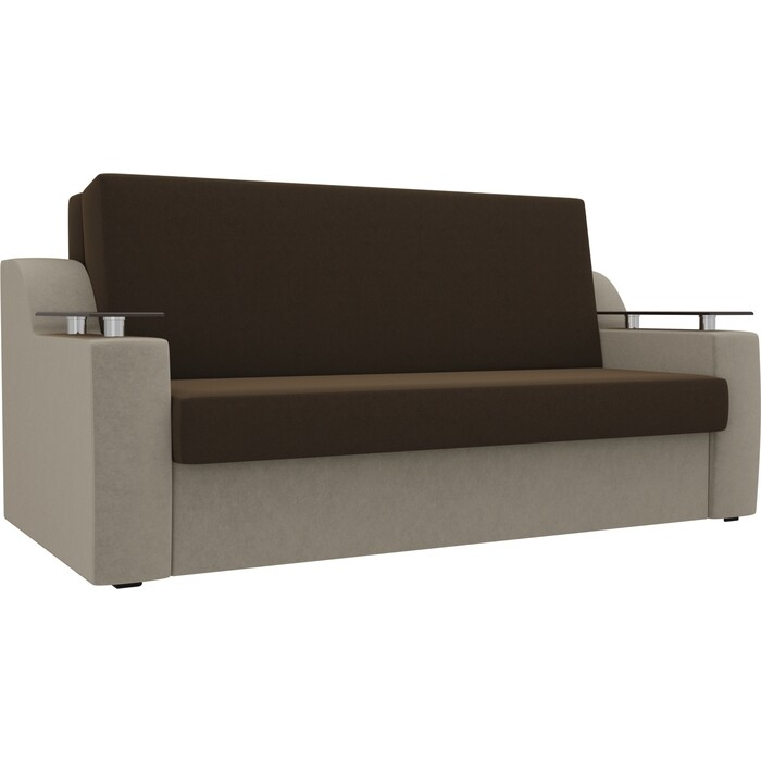 Прямой диван АртМебель Сенатор микровельвет коричневый/бежевый (140) аккордеон