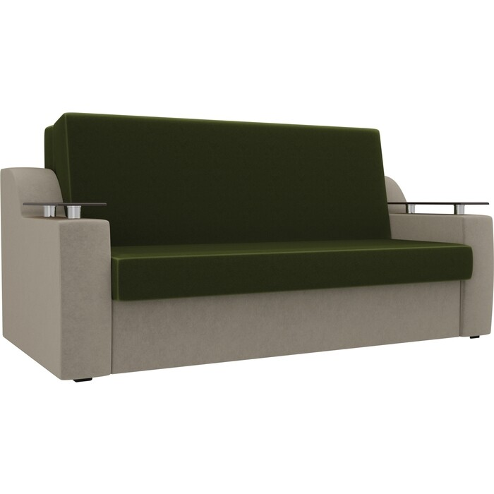 Прямой диван АртМебель Сенатор микровельвет зеленый/бежевый (120) аккордеон