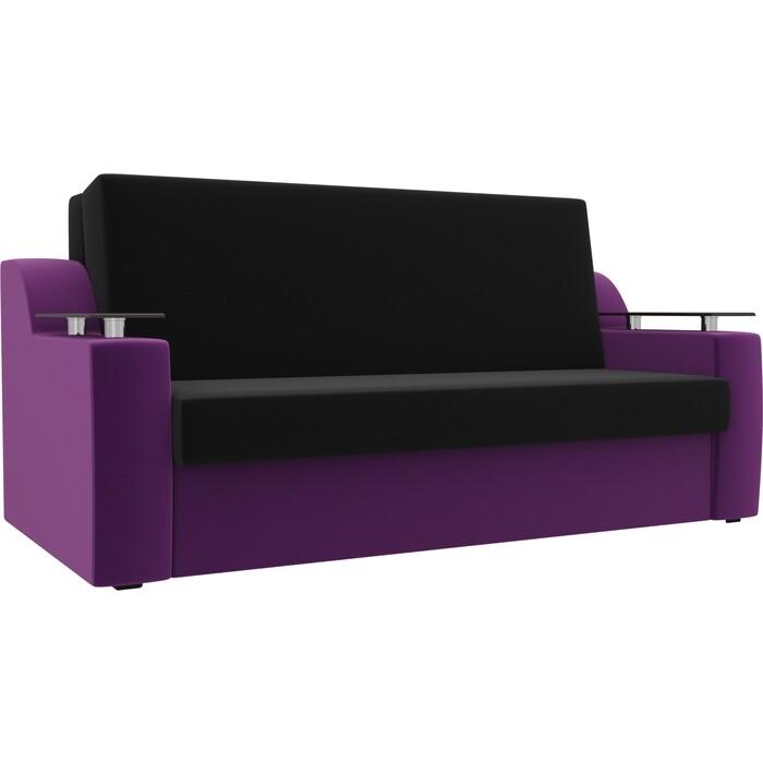 Прямой диван АртМебель Сенатор микровельвет черный/фиолетовый (100) аккордеон