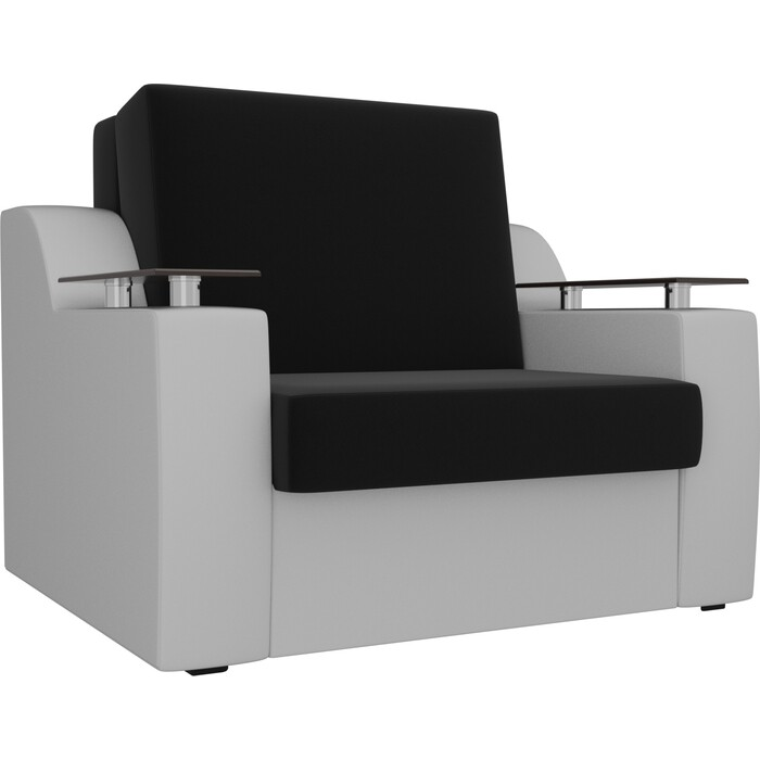 Кресло-кровать АртМебель Сенатор микровельвет черный экокожа белый (80)