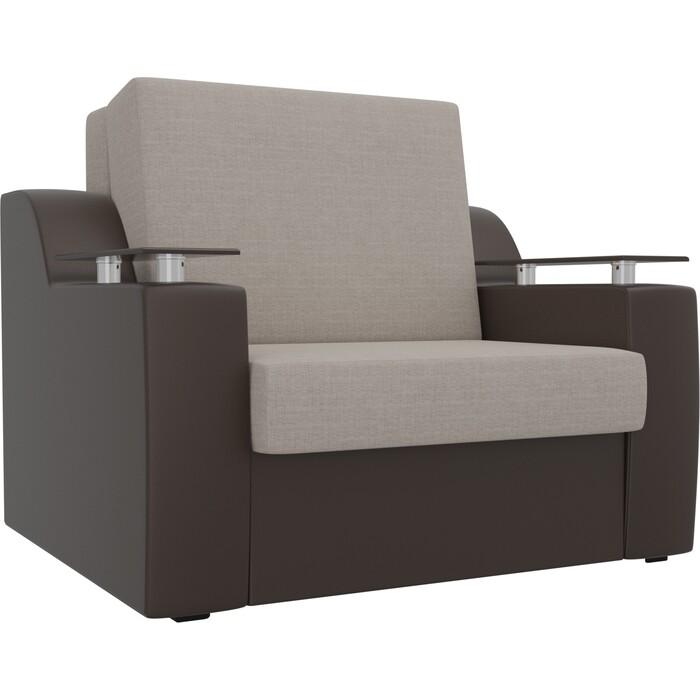 Кресло-кровать АртМебель Сенатор рогожка бежевый экокожа коричневый (60)