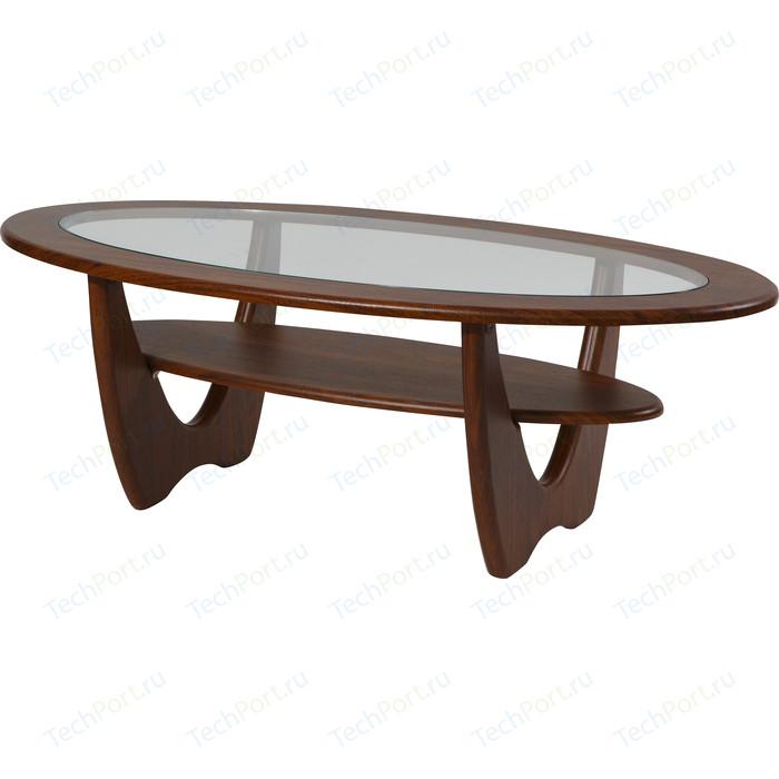 Стол журнальный Калифорния мебель Юпитер со стеклом орех