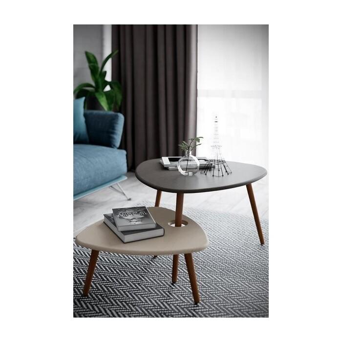 Стол журнальный Калифорния мебель Стилгрей серый лен/бежевый лен