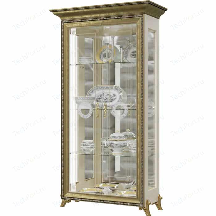 Шкаф 2-х дверный Мэри Версаль ГВ-02 без короны №2 слоновая кость