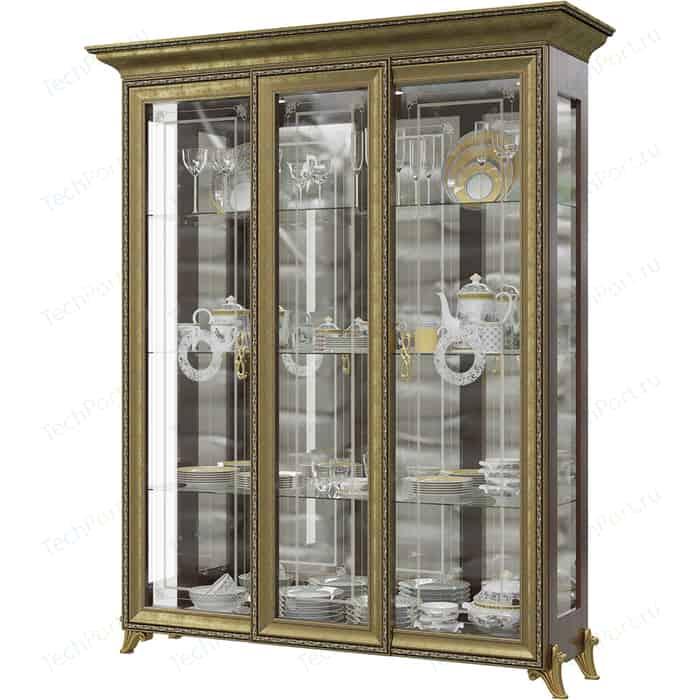 Шкаф 3-х дверный Мэри Версаль ГВ-04 без короны №3 орех тайский кровать мэри версаль св 04ш без короны 3 цвет слоновая кость 180