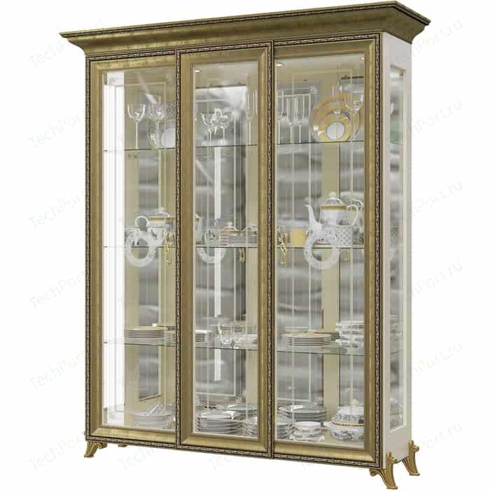 Шкаф 3-х дверный Мэри Версаль ГВ-04 без короны №3 слоновая кость