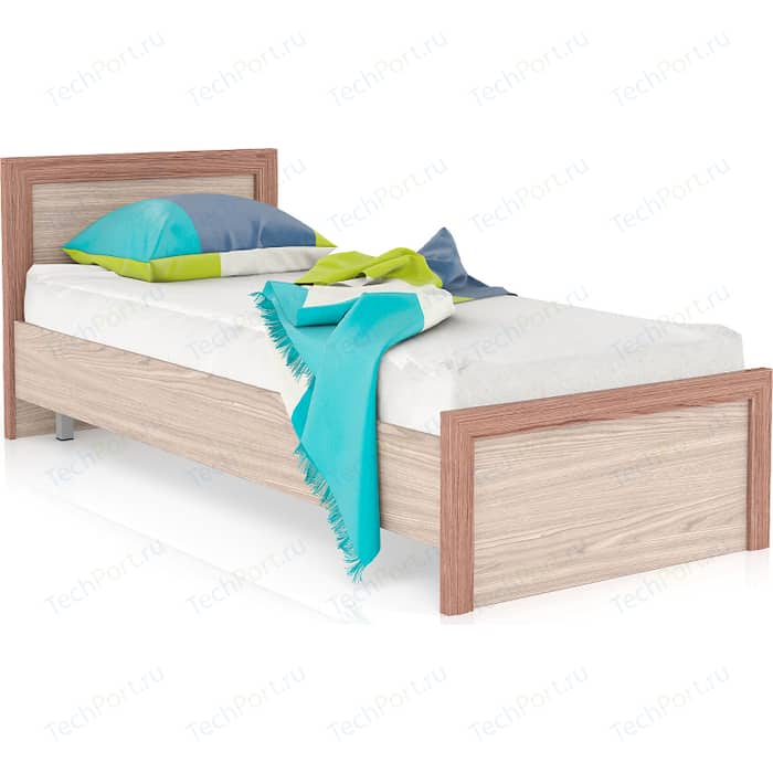 Кровать Мебельный двор Аврора ясень шимо темный/ясень светлый 80