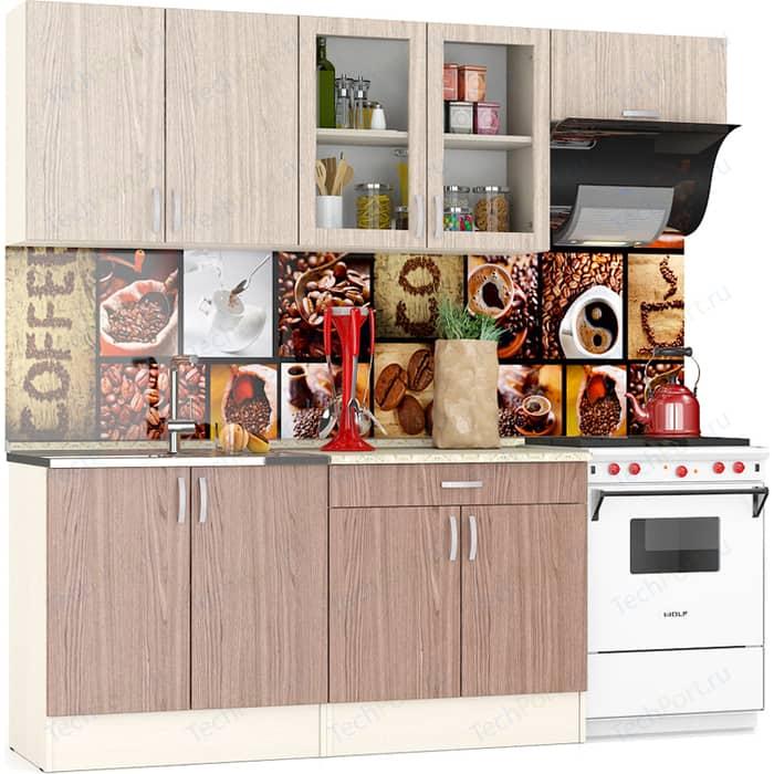 Кухня Мебельный двор Клер 2,2 дуб/ясень шимо светлый/ясень темный (ШВ-800+ШВС-800+ШВв-600, ШНМ-800+ШН1Я-800)