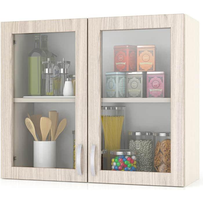 Шкаф-витрина Мебельный двор Мери ШВС800 дуб/ясень шимо светлый